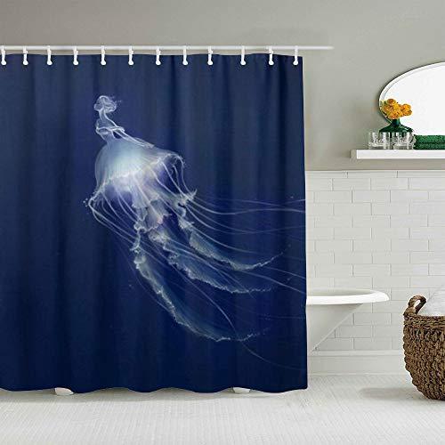 SUHOM Duschvorhang,Qualle Meerjungfrau,personalisierte Deko Badezimmer Vorhang,mit Haken,180 * 180