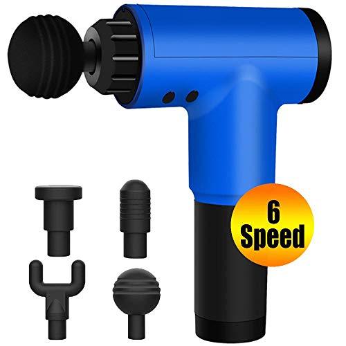 ZPILLOWC 6 Speeds Massage Gun,Deep Tissue Percussion Muscle Massage Gun,Cordless Handheld Super Quiet Massager with 4 Replacement Heads (Blue)
