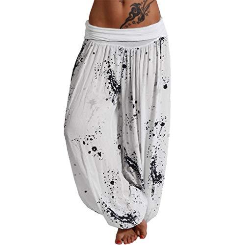 TUDUZPantalones De Harén Tailandés Mujer Holgado Boho Hippy Pantalones DeportivosImpresión Playa Pantalones Leves