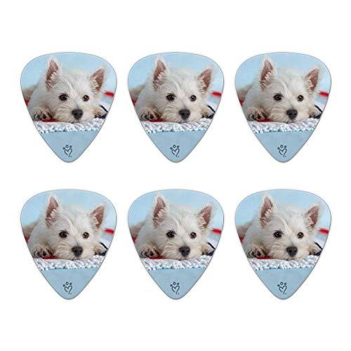 Púas De Guitarra Eléctrica Ukulele Púas Para Guitarra Púas Para Bajo West Highland Terrier Westie Puppy Dog Toalla De Playa Novedad Púas De Guitarra Calibre Mediano - Juego De 6