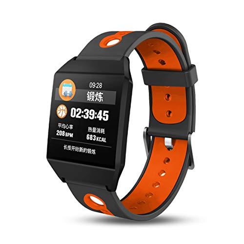 Funnyrunstore W1 Smart Colour Wristband della frequenza cardiaca Orologi Intelligente Bracciale Fitness Tracker,Arancia
