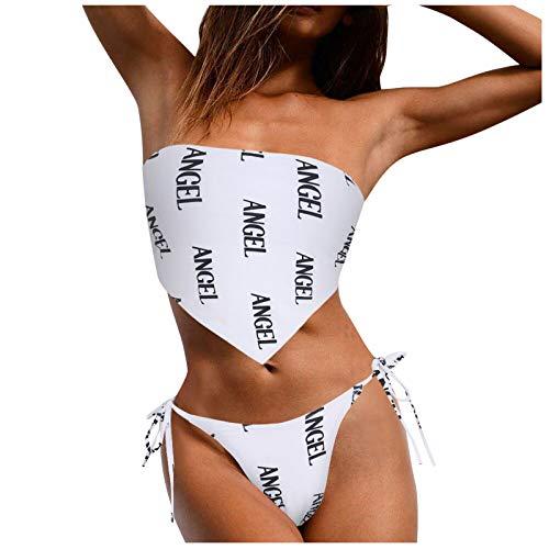 YpingLonk Mujeres de Alta Cintura Volante Bikini Conjuntos Mariposa impresión Lindo Push Arriba Acolchado Lado de baño Monokini