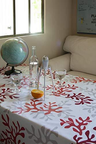 Fleur de Soleil - Nappe enduite Corail rouge Dimension - Rectangle 160x240cm, Finition - Ourlée, Matière - Coton enduit