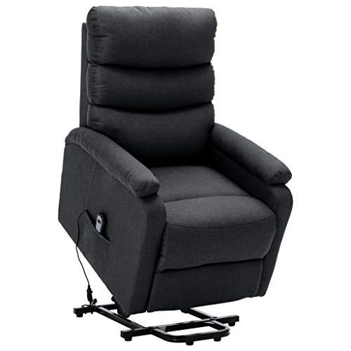 vidaXL Sessel mit Aufstehhilfe Aufstehsessel Fernsehsessel Relaxsessel TV Ruhesessel Polstersessel Liegesessel Loungesessel Dunkelgrau Stoff