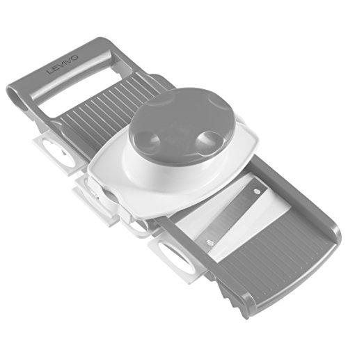 LEVIVO 331800000159 Tagliaverdure, Grattugia Multifunzione con 5 Inserti Intercambiabili, Bianco/Grigio, 34.5x19.5x11.5 cm
