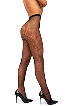 sofsy Women Fishnet Tights Pantyhose - High Waist Fish Net Nylon Lingerie Stockings [Made In Italy] Black - XS/Small