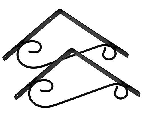 Soporte para estante de hierro fundido para decoración rústica, estilo antiguo, soporte para colgar en la pared, 90 grados, color negro, juego de 2 unidades