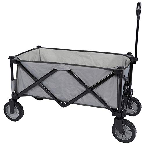 PORTAL Collapsible Folding Utility Wagon Quad Compact Outdoor Garden Camping Cart with Removable Fabric (Removable Fabric, Dark Grey) Colorado