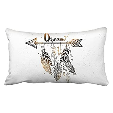 Emvency Pillowcases Beautiful Dream Arrow Feachers Boho Gold Black Polyester Pillow Cover 20 x 36 Inch King Size Rectangle Sofa Cushion Decorative Pillowcase With Hidden Zipper Home Sofa