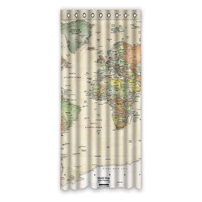 """dalliy personalizado mapa del mundo de viaje cortina de ventana poliéster 50""""x108sobre 127cm x 275cm, (One Piece), poliuretano, A, 50"""" x 108"""""""