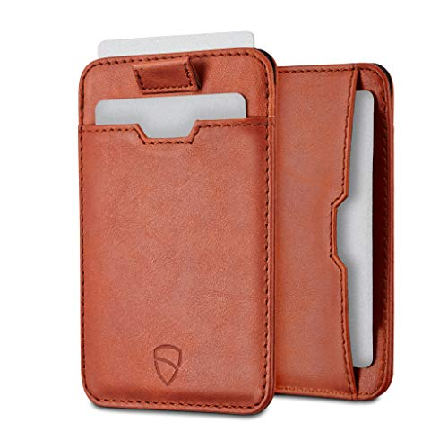 Vaultskin CHELSEA - Portafoglio minimalista da uomo in pelle con blocco RFID, tasca frontale porta carte di credito (Cognac)