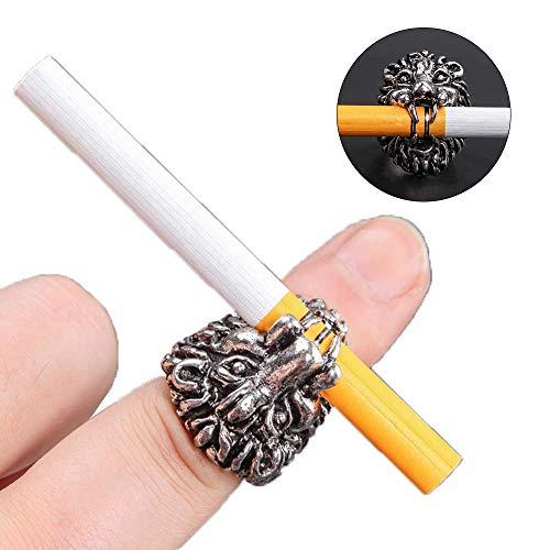 ZY Löwe Kopf Ring Zigaretten Halter Smoking Ringe Anti Scalding Finger Personalisierte Metall Zigarette Hand Freie Halter Für Unisex Frauen Männer Raucher Werkzeug,Silber,XL