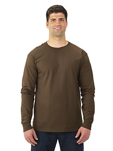 Fruit of the Loom Adult 5 oz. HD Cotton Long-Sleeve T-Shirt L CHOCOLATE