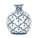 Sea Island Cute Round Baseball Glossy Blue and White 4 inch Porcelain Ceramic Vase