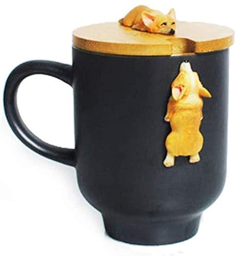 fsafa 3D Hund Schwarz Becher Süße Hund Katze Claw Kaffee Tee Becher Kirsche Doppelschicht Keramik Saft Tasse Milchbecher Wassertasse,Neuheit Personalisierte Schokolade Tee Milchtassen,Beste GIF