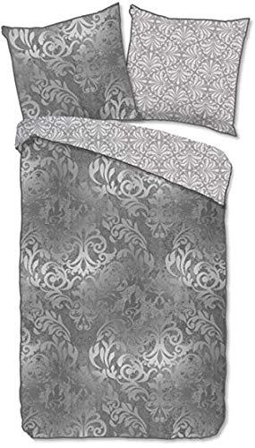 Descanso Juego de cama de satén Mako, 3 piezas, funda nórdica de 200 x 200 cm y funda de almohada de 80 x 80 cm, color gris