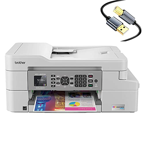 Brother MFC-J805DWB INKvestment Tank All-in-One Wireless Color Inkjet Printer - 4-in-1 Print Copy Scan Fax - 12 ppm, 6000 x 1200 dpi, Auto Duplex, up to 1-Year of Ink in-Box, Tillsiy Printer Cable