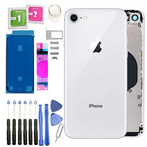 Infigo Backcover geeignet für iPhone 8 Silber Gehäuse Silber housing Rahmen Rückseite Aluminium inkl Kleinteile, Akku Klebepad und Werkzeug (iPhone 8, Silber)