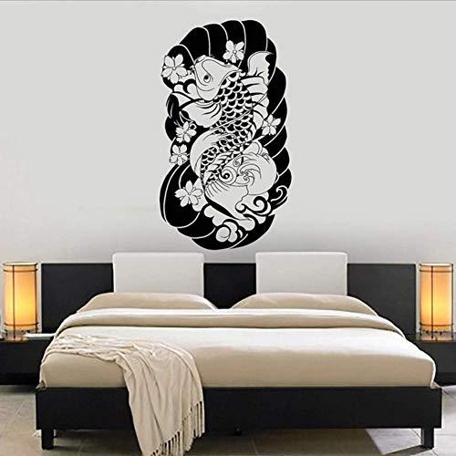 Wymw Carpa Giappone Art Giapponese Pesce Vinile Decalcomania Della Parete Home Decor Fai Da Te Arte Murale Carta Da Parati Rimovibile Adesivi Murali 43 * 75cm