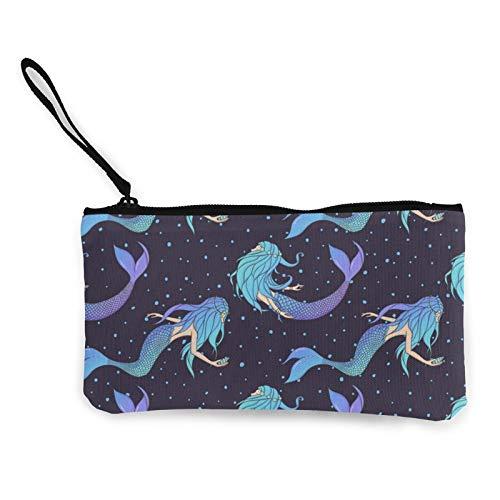 Moneda de lona, hermosas sirenas subacuáticas bolso de viaje con cremallera Cosméticos bolsa multifunción bolsa de maquillaje bolsa de teléfono móvil titular bolsa lápiz paquete con asa