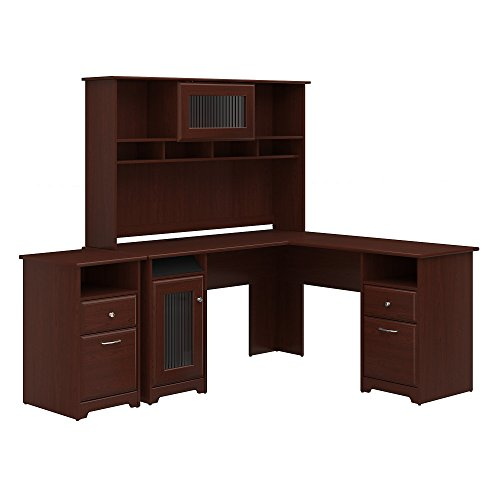 Bush Furniture Cabot L Shaped Desk with Hutch and 2 Drawer File Cabinet in Harvest Cherry