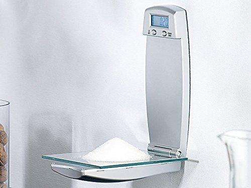 Rosenstein & Söhne Wand Küchenwaage: Digitale Küchenwaage zur Wandmontage, klappbar, Timer, 3 kg Tragkraft (Küchenwandwaage)
