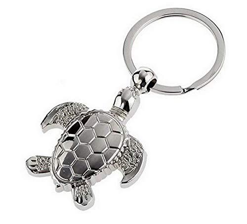 Llavero de tortuga de acero plateado.