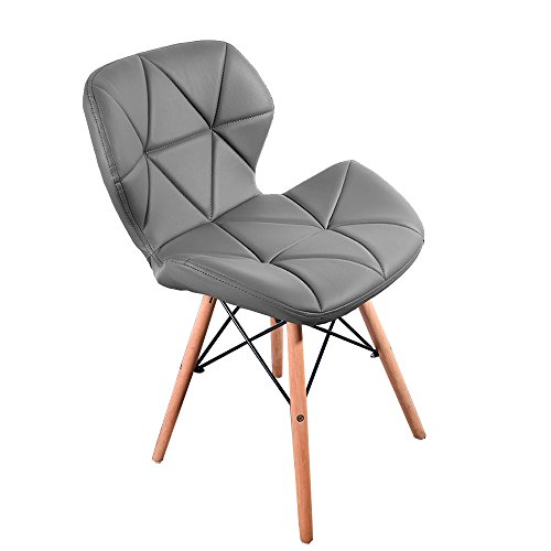 Midland Oak Furniture FRR MoF Style Dining Wooden Chairs Wood Legs & Comfortable Padded Seat Home Office Design Chair Dining chair (Grey, 1)
