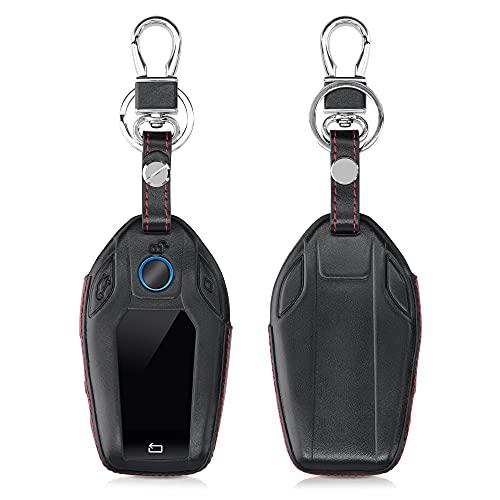 kwmobile Autoschlüssel Hülle kompatibel mit BMW Display Key Autoschlüssel - Leder Schutzhülle Schlüsselhülle Schwarz Rot