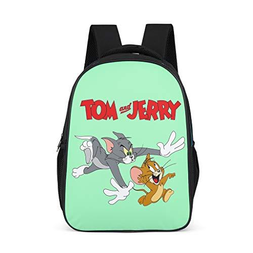 Cartoon Anime Tom and Jerry - Mochila infantil ergonómica con compartimento para portátil, color cian Gris gris talla única