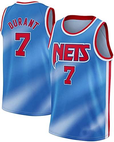 Haoshangzh55 Jersey De Baloncesto para Hombre - NBA Brooklyn Nets # 7 Kevin Durant, Hombre Transpirable Jersey Fans Sin Mangas Chaleco De Baloncesto Camiseta,Azul,M(170~175CM)