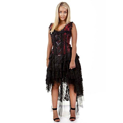 Burleska Damen Korsett Kleid - Ophelie Brocade Rot Dress Viktorianisch (42)