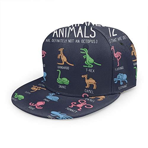 Sombreros de béisbol planos unisex 12 animales (que definitivamente no son un pulpo) ajustables Snapback 3D Hip Hop gorras para uso diario, color negro