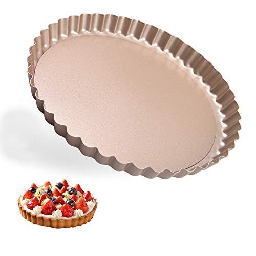 Molde para Quiche y Tarta Modelo Redondo Antiadherentes para Quiche Bandeja Hornear Rizado con Fondo Extraíble Sartenes para Pizza Tartas de Queso Chocolate Tarta de Frutas 20cm