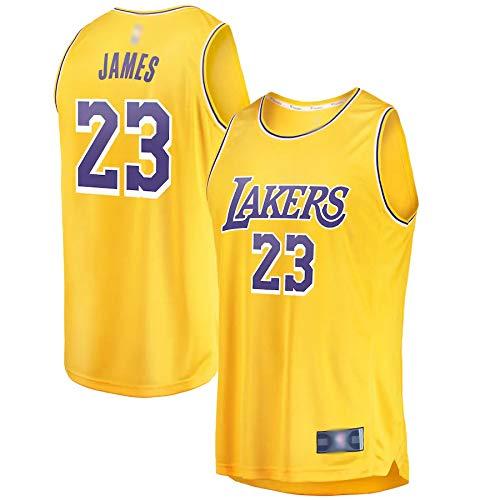 DDDE Camisetas de baloncesto al aire libre LeBron Lakers, James Los Angeles #23, 2018/19 Réplica de Réplica de Oro de Secado Rápido Ropa Deportiva Para Hombres - Icono Edición