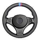 JIRENSHU Revêtement de Volant de Voiture surpiqué Main en Cuir Noir pour BMW X3 (M Sport) E83 2005-2010