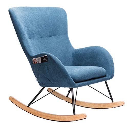 INMOZATA Blue Rocking Chair Linen Fabric Relax Rocking Armchair Lounge Chair Relaxing Rocker Recliner Chair with Extra Soft Padded Cushion for Outdoor Garden Living Room Bedroom (Blue)