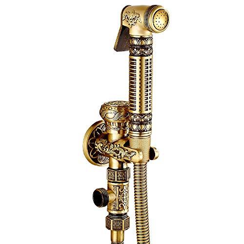 Shower set-Jack Europeo Antiguo Cobre de Baño Grifo Pistola Grifo Bidet Ducha Rociador de Mano de Limpieza de Inodoro Cabeza de Ducha (Color : Dual Use (with Triangular Valve))