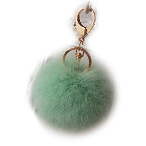 Sweet Home flauschig weich Kaninchen Pelz Ball Schlüsselanhänger Zubehör Frauen/Damen niedliche KFZ Schlüssel Kette Mädchen Tasche Charm Anhänger Geschenke, Fruit Green