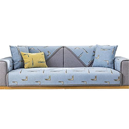 1 2 3 4 Seaters Anti-Rutsch-Sofa Möbelschutz Anti-Rutsch-Schnittsofa Schonbezug für Hunde Katzen Pet Recliner Armlehne Rückenlehne Abdeckung,Hellblau,110 * 210cm