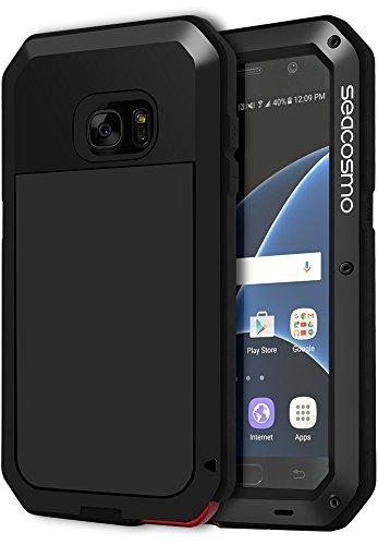 seacosmo S7 Hülle, Tough Armor Aluminium Doppelte Schutz Handyhülle Samsung Galaxy S7 Stoßfest Ganzkörper Schutzhülle mit eingebauter Displayschutz für Galaxy S7, Schwarz