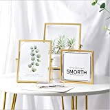 Set of 3 Glass Photo Frame Collection Simple Metal Geometric Picture Frame Vintage Style Antique Gold Picture Frames Gold Photo Frame (Metal01, 3pcs)