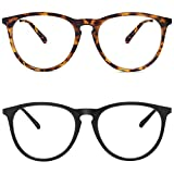 YAROCE Blue Light Glasses, 2-Pack Anti Glare UV Digital Eyestrain Round Computer Gaming Blue Light Blocking Glasses for Women/Men (Tortoise, Black)
