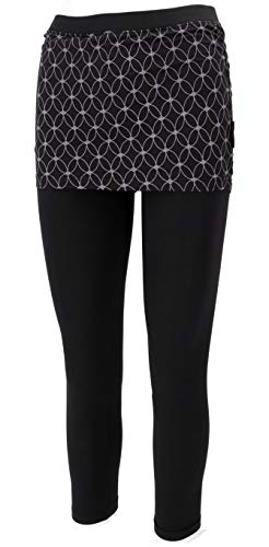GURU SHOP Yoga-Hose, Leggings mit Minirock aus Bio-Baumwolle Flower of Life, Damen, Schwarz, Size:XL (42), Shorts, Leggings Alternative Bekleidung