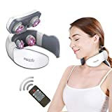 Tens Neck Massager Deep Tissue Electric Pulse Shiatsu Shoulder Massager Cervical Pain Relief Treatment Physical Therapy Snap-On Neck Massagers with Heat
