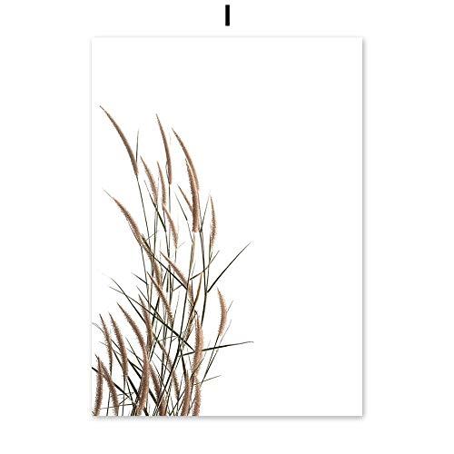 UIOLK Pintura de Arte Multicolor Reed Planta Salvaje Arena Carteles nórdicos e Impresiones Lienzo Arte decoración nórdica habitación Regalo de San Valentín