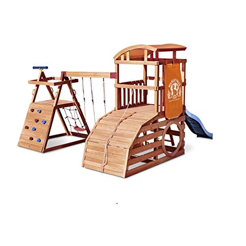 Little Tikes Real Wood Adventures Wildcat Falls Exclusive Wooden Outdoor Playset Playground with Slide, Swing Set and Climbing Wall for Kids Backyard Kids Activity