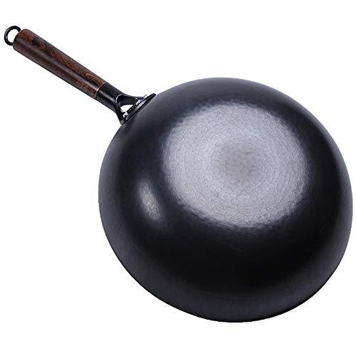 Auténtica lana martillada a mano. Wok de 12 pulgadas (32 cm de fondo plano) Olla de hierro china hecha a mano, apta para cocina de inducción y gas natural