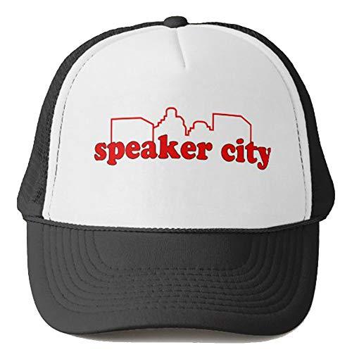 steamship n Speaker City Trucker Hat Summer Mesh Cap with Adjustable Snapback Strap Baseball Cap Unisex Headwear Black