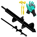 Garden Auger Spiral Drill Bit Set, Auger Drill Bit for Planting Garden Genie Gloves,Planting Seedling Tool Plant Labels for Bedding Plants and Digging Weeds Roots 1.8'x3' and 8.6'x1.6' Rapid Planter